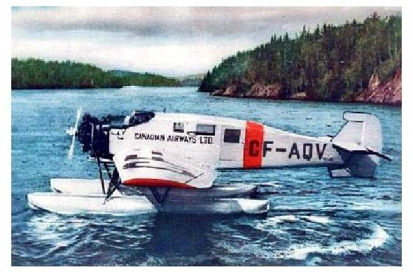 Altes Farbfoto Gewasserte Junkers W 34 der Canadian Airways (Neudruck als Postkarte)