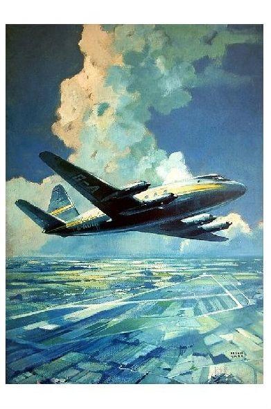 Künstlerkarte Vickers Viscount über einem Flughafen (Neudruck als Postkarte)
