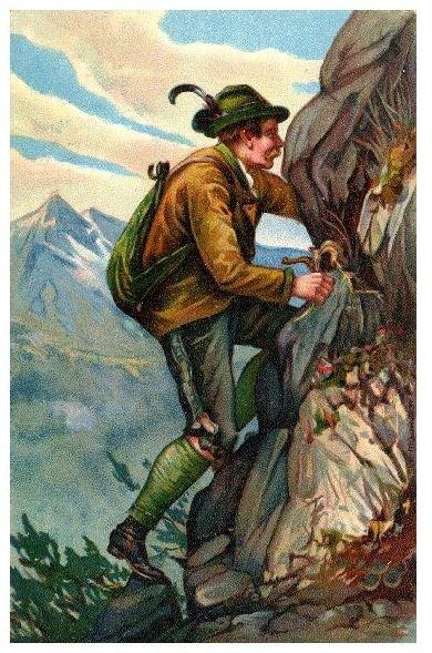 Alte Künstlerkarte Bergsteiger beginnt Aufstieg (Neudruck als Postkarte)