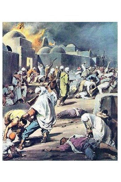 Alte Künstlerkarte Terror in Algerien (Neudruck als Postkarte)