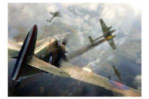 Alte Künstlerkarte Luftschlacht von England I (Neudruck als Postkarte)