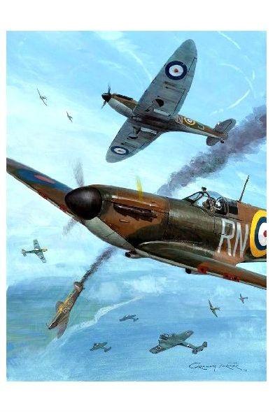 Alte Künstlerkarte Luftschlacht von England II (Neudruck als Postkarte)