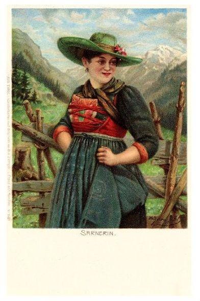 Alte Künstlerkarte Frau in Sarner Tracht (Neudruck als Postkarte)