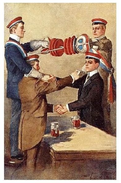 Alte Künstlerkarte Studenten bei der Mensur II (Neudruck als Postkarte)