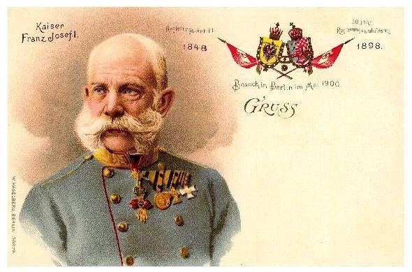 Alte Künstlerkarte Kaiser Franz Josef I. Besuch in Berlin im Mai 1900 II (Neudruck als Postkarte)
