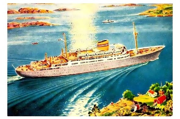 Alte Künstlerkarte Passagierdampfer MS Oslofjord (Neudruck als Postkarte)