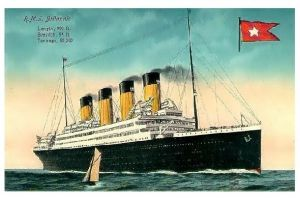Alte Künstlerkarte RMS Britannic auf See (Neudruck als Postkarte)