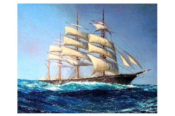 Alte Künstlerkarte Segelschiff auf hoher See (Neudruck als Postkarte)