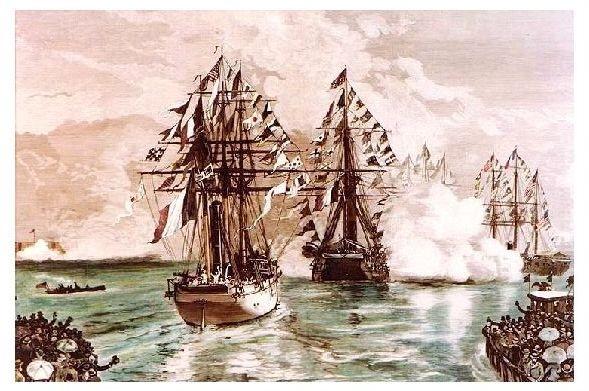 Alte Künstlerkarte Eintreffen der Freiheitssatue auf Segelschiff in New York (Neudruck als Postkarte)