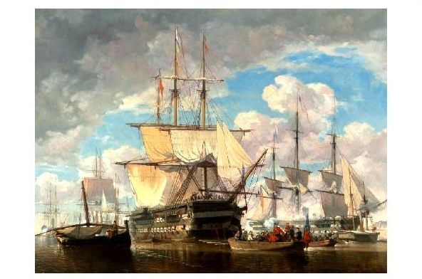 Alte Künstlerkarte Schaumburg - Schiffe auf See (Neudruck als Postkarte)