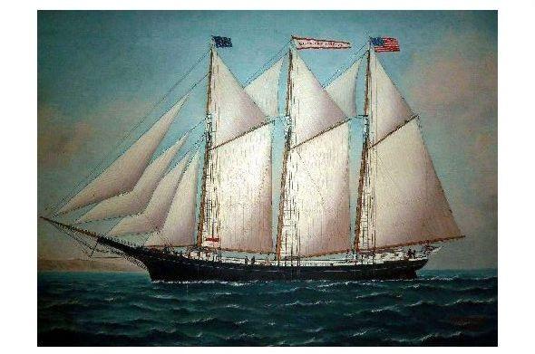Alte Künstlerkarte Amerikanisches Segelschiff (Neudruck als Postkarte)