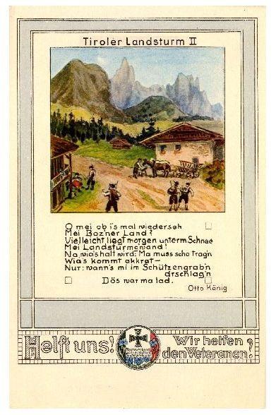 Alte Künstlerkarte Tiroler Landsturm II (Neudruck als Postkarte) 0