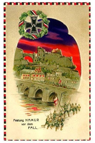 Alte Künstlerkarte 1. WK Festung Namur vor dem Fall (Neudruck als Postkarte) 0