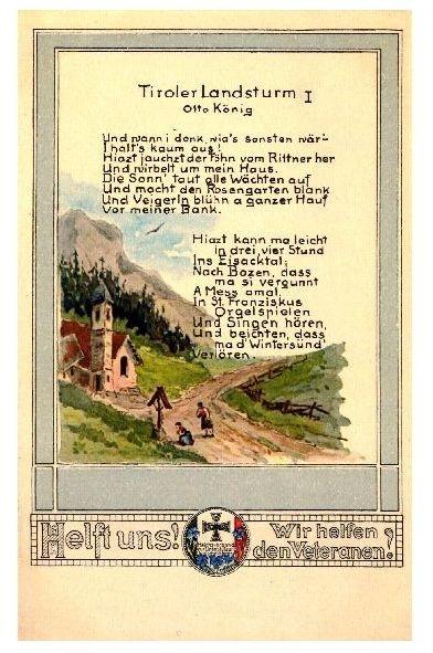 Alte Künstlerkarte Tiroler Landsturm I (Neudruck als Postkarte)