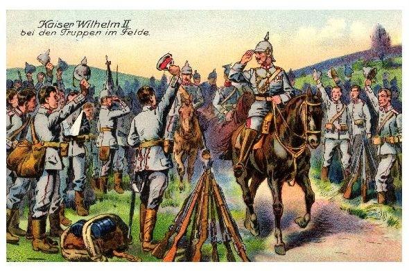 Alte Künstlerkarte 1. WK Kaiser Wilhelm bei den Truppen im Felde (Neudruck als Postkarte) 0