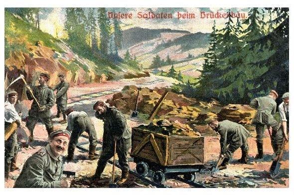 Alte Künstlerkarte 1. WK Unsere Soldaten beim Brückenbau (Neudruck als Postkarte) 0