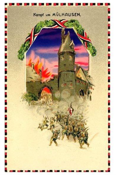 Alte Künstlerkarte 1. WK Kampf um Mülhausen (Neudruck als Postkarte) 0