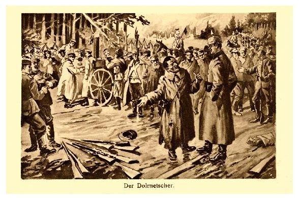 Alte Künstlerkarte 1. WK Der Dolmetscher (Neudruck als Postkarte) 0