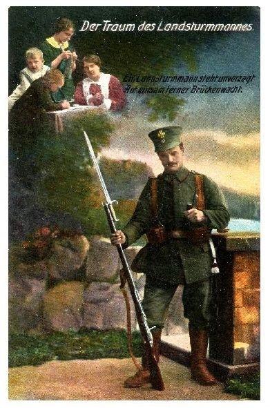Alte Farbfoto-AK 1. WK Der Traum des Landsturmmannes (Neudruck als Postkarte) 0