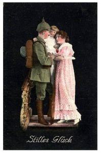 Alte Farbfoto-AK 1. WK Stilles Glück (Neudruck als Postkarte)
