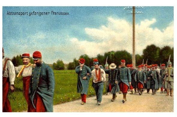 Alte Farbfoto-AK 1. WK Abtransport gefangener Franzosen (Neudruck als Postkarte)