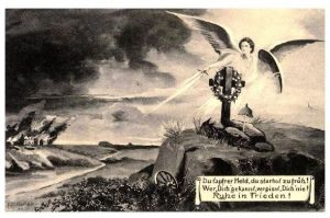Alte Künstlerkarte 1. WK Ruhe in Frieden (Neudruck als Postkarte)