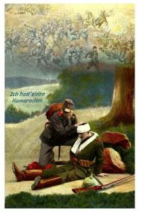 Alte Farbfoto-AK 1. WK Ich hatt` einen Kameraden (Neudruck als Postkarte)