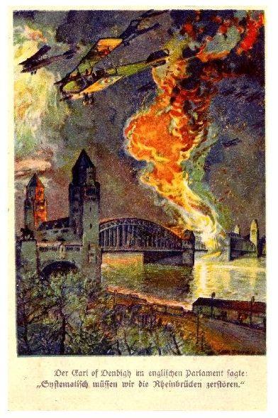 Alte Künstlerkarte 1. WK Systematisch müssen wir die Rheinbrücken zerstören (Neudruck als Postkarte)