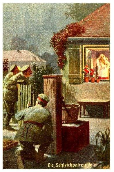 Alte Künstlerkarte 1. WK Humor \