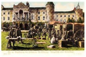 Alte Farbfoto-AK 1. WK Kriegskasse eines Armeekorps (Neudruck als Postkarte)