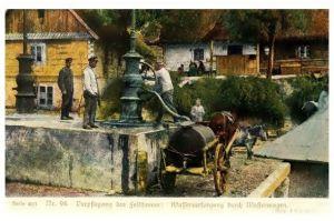 Alte Farbfoto-AK 1. WK Wasserversorgung durch Wasserwagen (Neudruck als Postkarte)