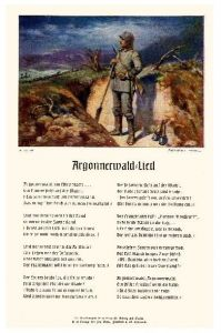 Alte Künstlerkarte 1. WK Argonnerwald-Lied (Neudruck als Postkarte)