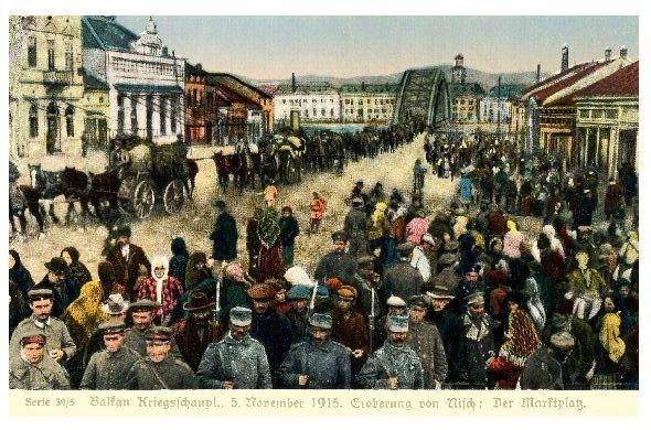 Alte Farbfoto-AK 1. WK Eroberung von Nisch - Der Marktplatz (Neudruck als Postkarte)