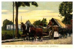 Alte Farbfoto-AK 1. WK Ostpreußische Flüchtlinge (Neudruck als Postkarte)