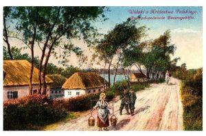 Alte Künstlerkarte 1. WK Russisch-Polnische Bauerngehöfte (Neudruck als Postkarte)