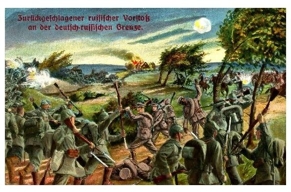 Alte Künstlerkarte 1. WK Zurückgeschlagener russischer Vorstoß (Neudruck als Postkarte)