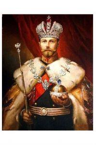 Altes Gemälde Kaiser Nikolaus II. von Russland (Neudruck als Postkarte)