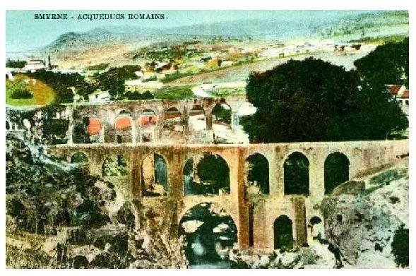 Alte Farbfoto-AK Römisches Aquädukt in Izmir (Neudruck als Postkarte)