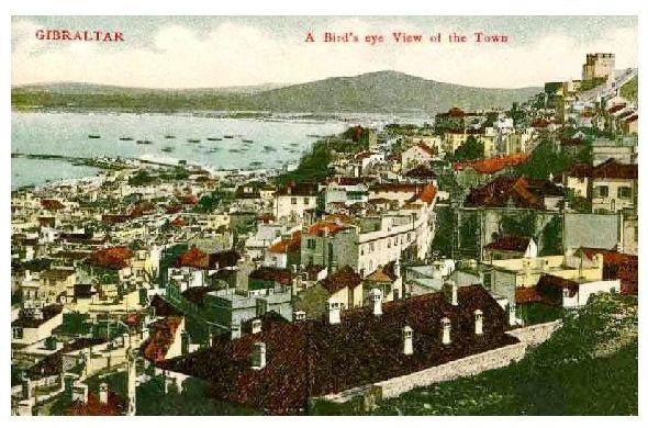Alte Farbfoto-AK Panorama von Gibraltar (Neudruck als Postkarte)