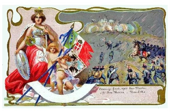 Alte Künstlerkarte Schlacht von San Martino (Neudruck als Postkarte)