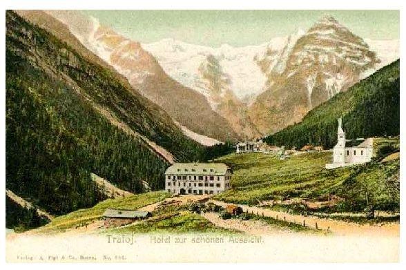 Alte Farbfoto-AK Hotel zur schönen Aussicht in Trafoi in Südtirol (Neudruck als Postkarte)