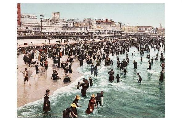 Altes Photochrome-Farbfoto Strand von Atlantic City (Neudruck als Postkarte)
