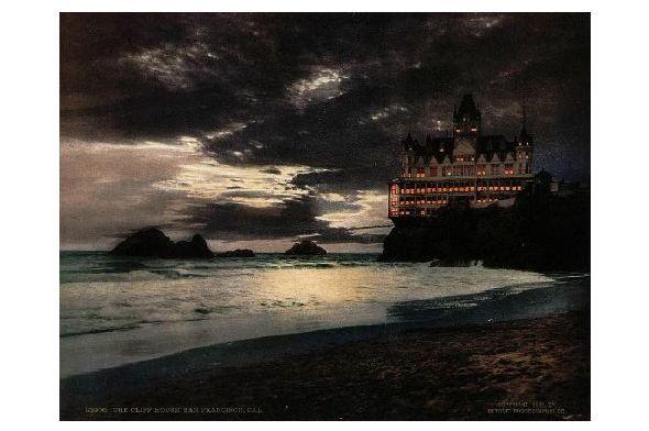 Altes Photochrome-Farbfoto Cliff House bei San Francisco (Neudruck als Postkarte)