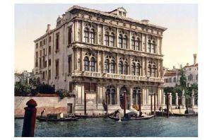 Altes Photochrome-Farbfoto Palazzo Vendramin-Calergi in Venedig (Neudruck als Postkarte)