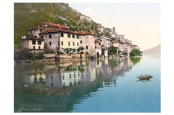 Altes Photochrome-Farbfoto Panorama von Gandria am Luganer See (Neudruck als Postkarte)