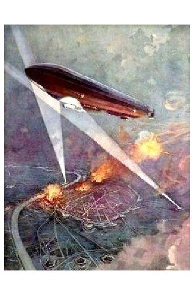 Alte Künstlerkarte 1. WK Angriff eines Luftschiffes auf Antwerpen (Neudruck als Postkarte)