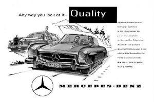 Alte Werbung in englisch Mercedes Benz Cabrio und Ponton (Neudruck als Postkarte)