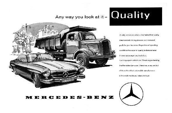 Alte Werbung in englisch Mercedes Benz Cabrio und LKW (Neudruck als Postkarte)