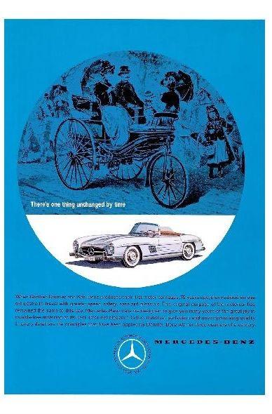 Alte Werbung in englisch Mercedes Benz 300 SL Cabrio und erstes Auto (Neudruck als Postkarte)