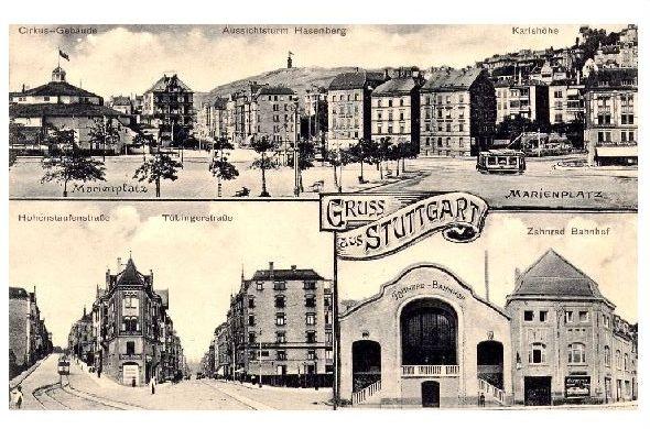 Alte Mehrbild-Foto-AK Gruss aus Stuttgart (Neudruck als Postkarte)